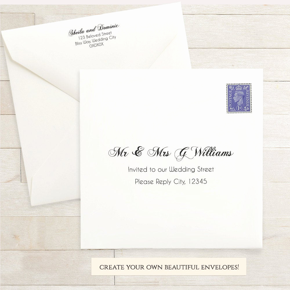 printable wedding 6x6 envelope template