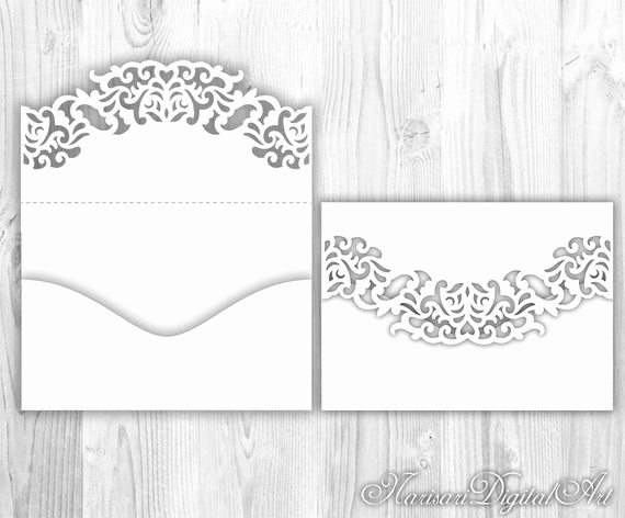 Wedding Invitation Envelope Templates New Wedding Invitation Pocket Envelope 5x7 Svg Template Lace