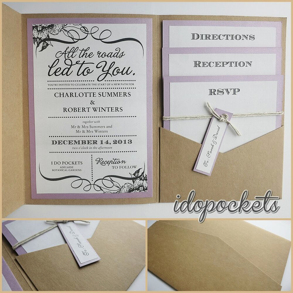 Wedding Invitation Envelopes Templates Fresh Kraft Wedding Pocket Invitations Diy Pocketfold Envelopes