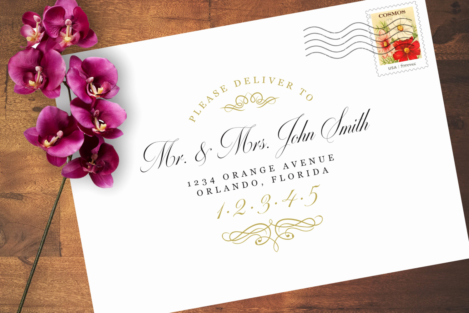 Wedding Invitation Envelopes Templates Fresh Wedding Envelope Address Word Template Vintage Style Black