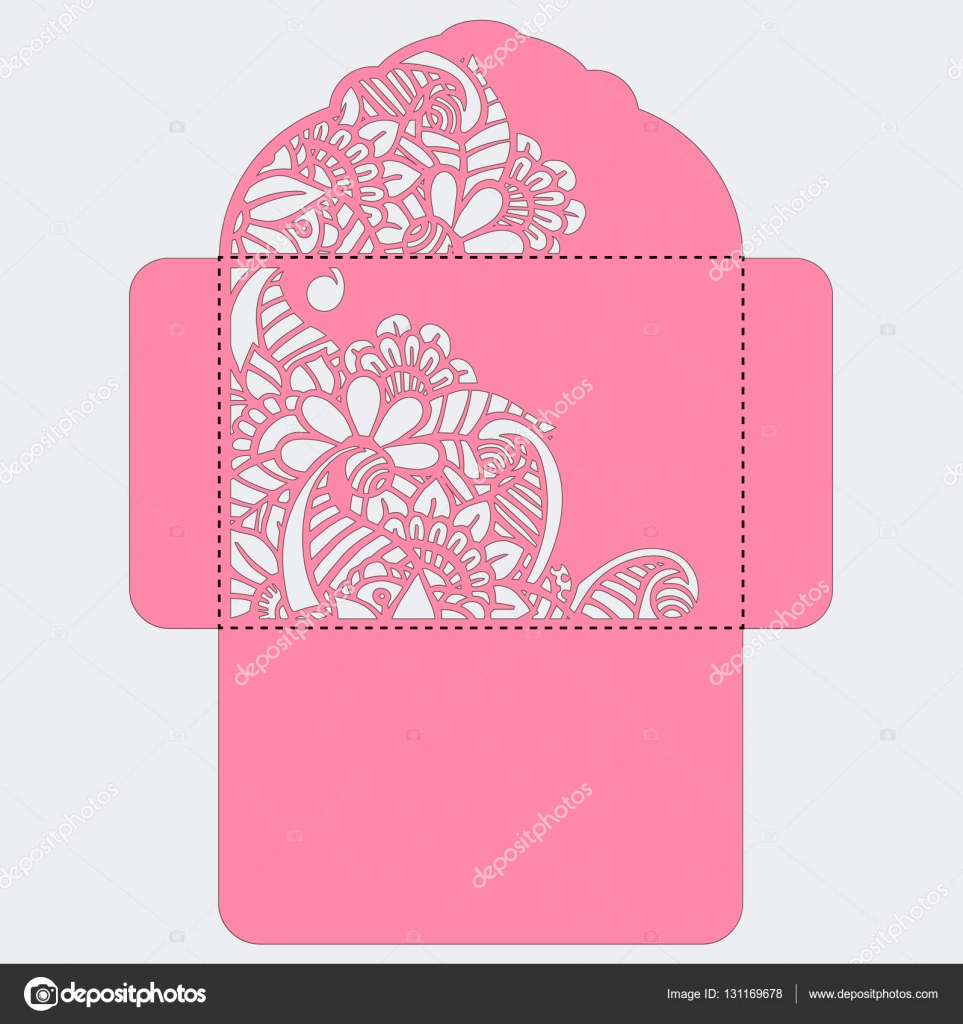stock illustration lasercut vector wedding invitation template