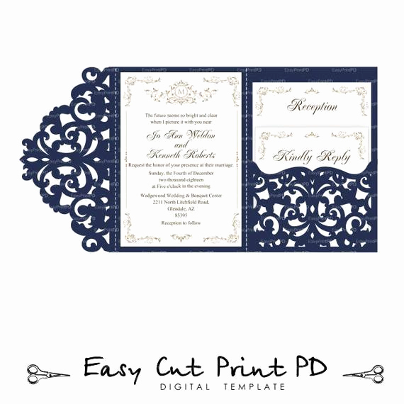Wedding Invitation Envelopes Templates Unique Wedding Invitation Set Of Tri Fold Lace Pocket Envelope 5x7