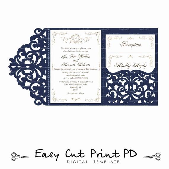 Wedding Invitation Envelopes Templates Unique Wedding Invitation Set Of Tri Fold Lace Pocket Envelope 5x7