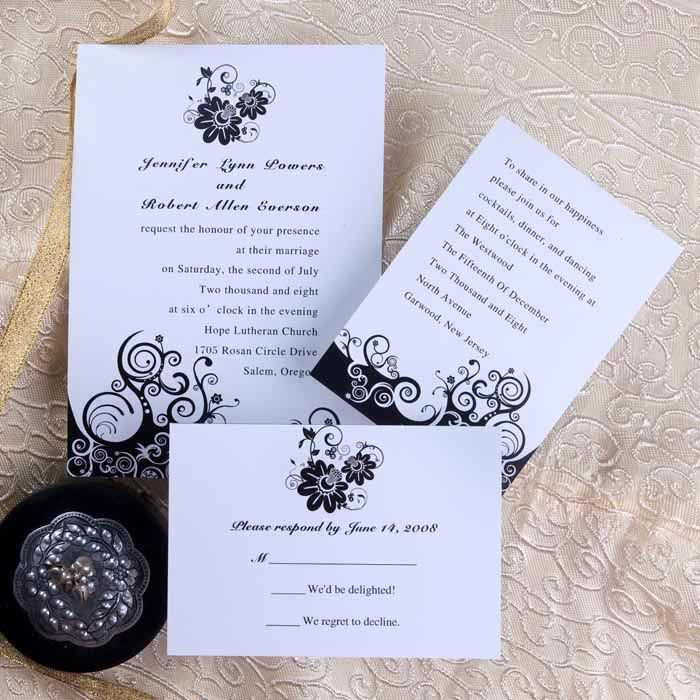 Wedding Invitation for Friends New Black Flower Wedding Card