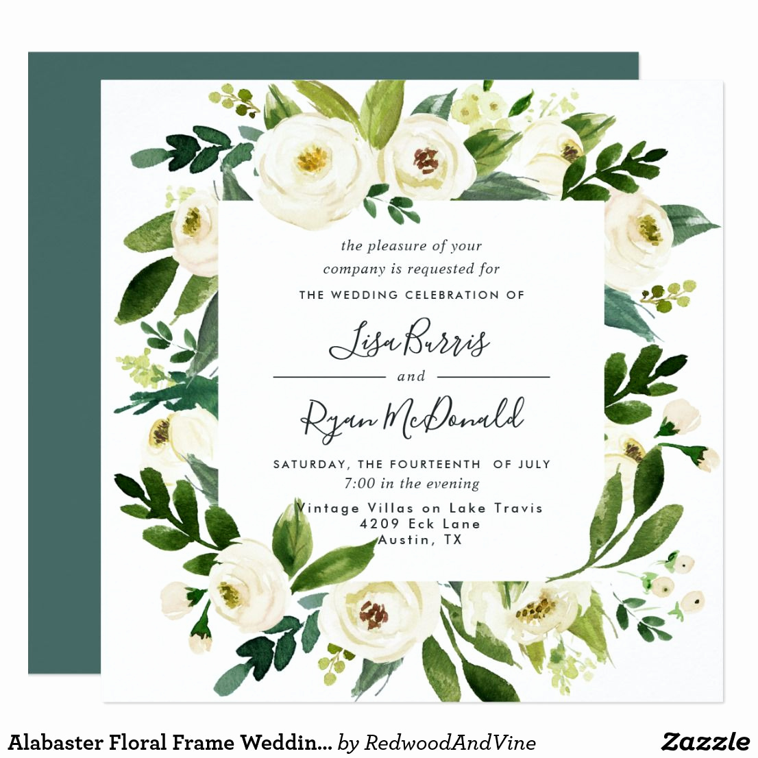 Wedding Invitation Frame Ideas Beautiful Alabaster Floral Frame Wedding Invitation