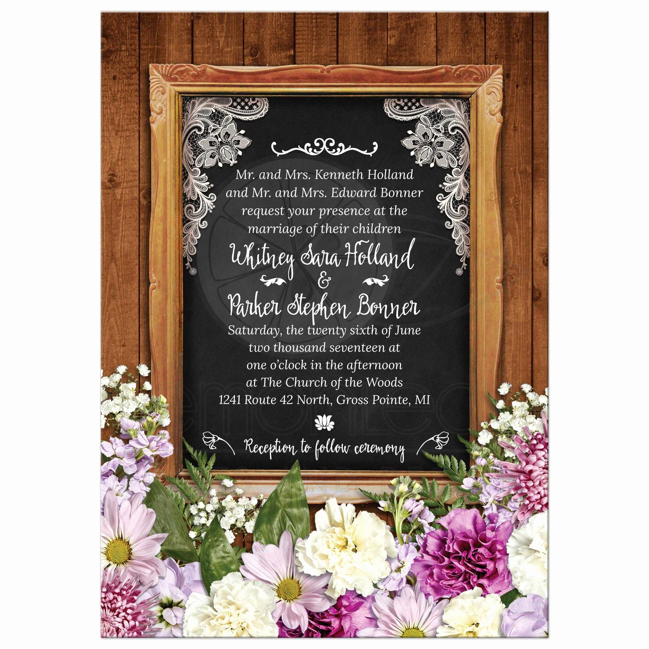 Wedding Invitation Frame Ideas Fresh Rustic Spring Chalkboard Picture Frame Floral Wedding