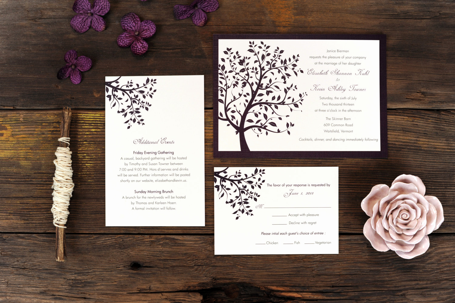 Wedding Invitation Frame Ideas Lovely Summer Tree Wedding Invitation Breeze Purple Frame Simple