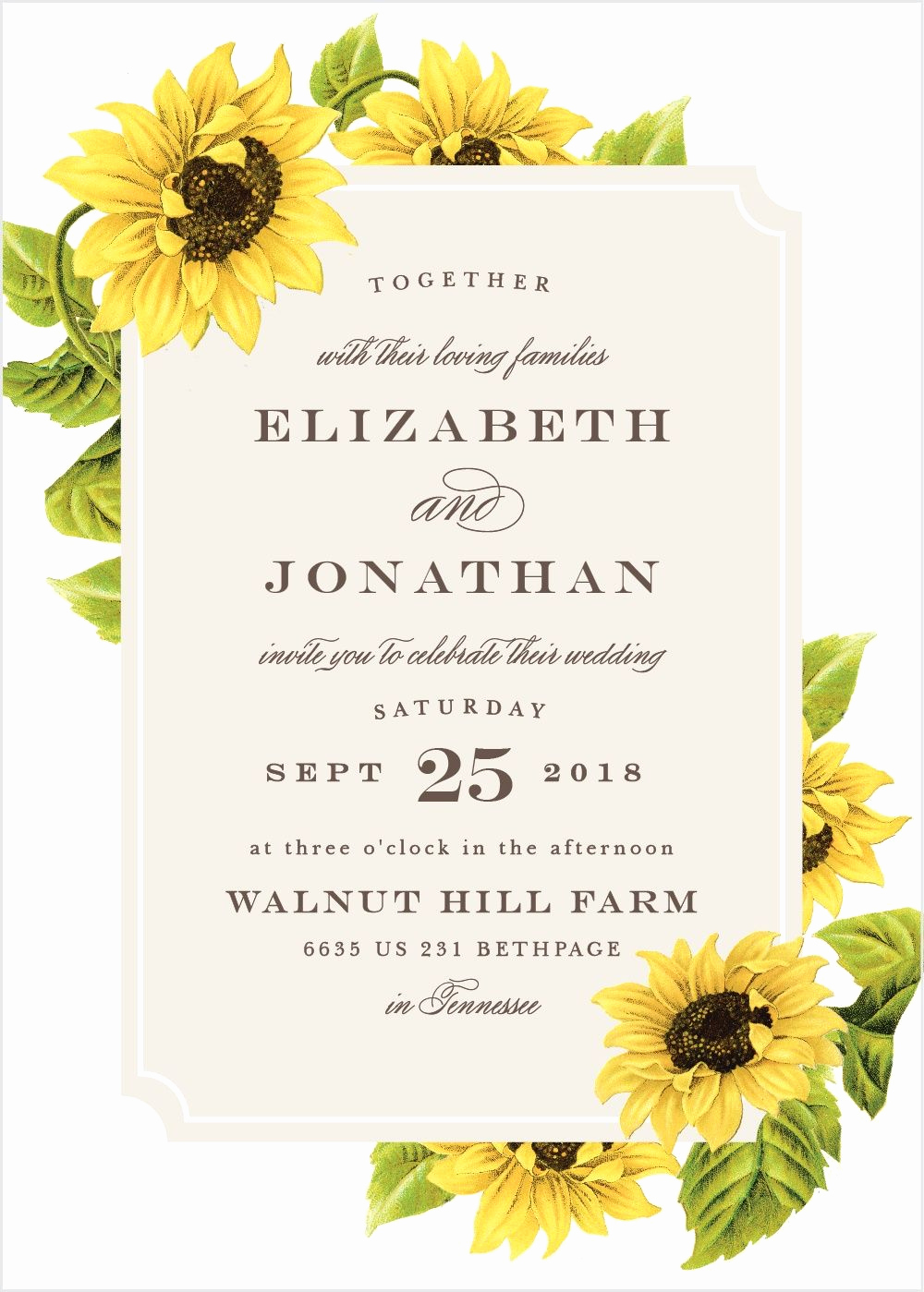 Wedding Invitation Frame Ideas Lovely Sunflower Frame Wedding Invitations In 2019