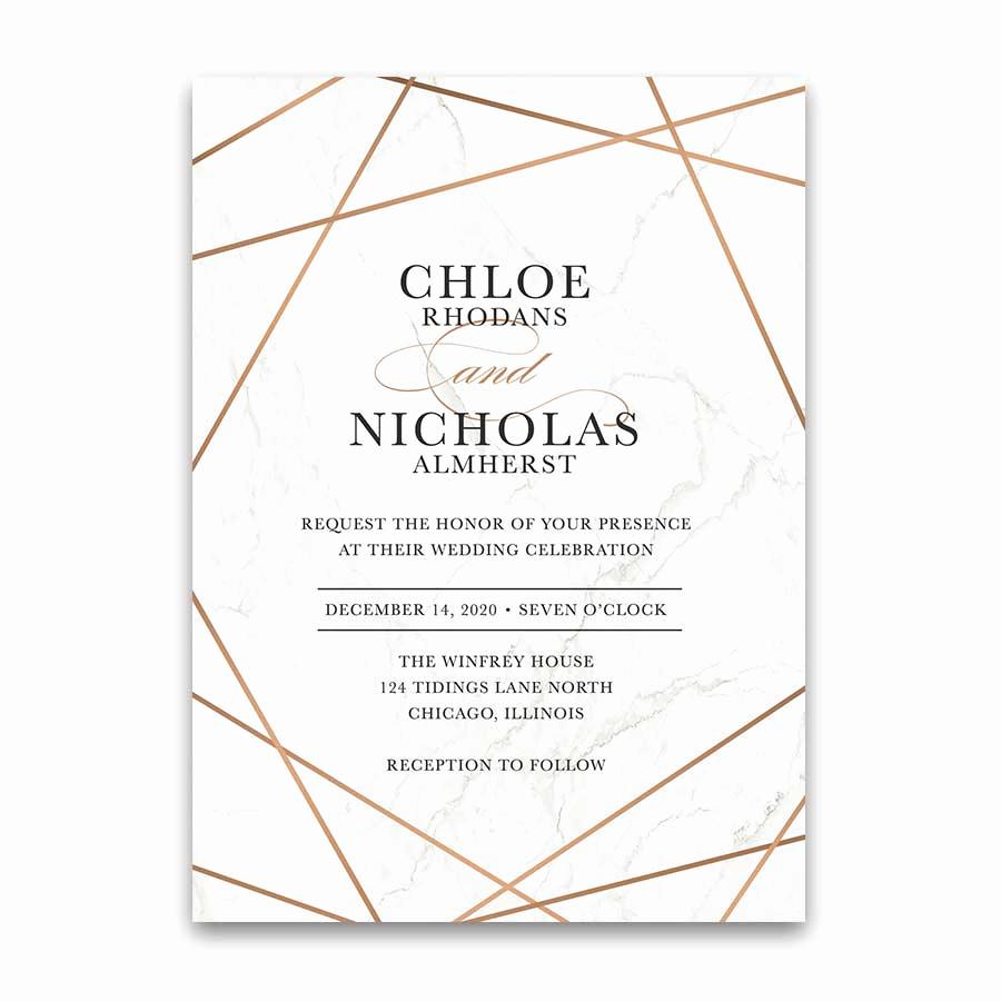 Wedding Invitation Frame Ideas Unique Geometric Frame Wedding Invitations Marble Inlay Rose Gold
