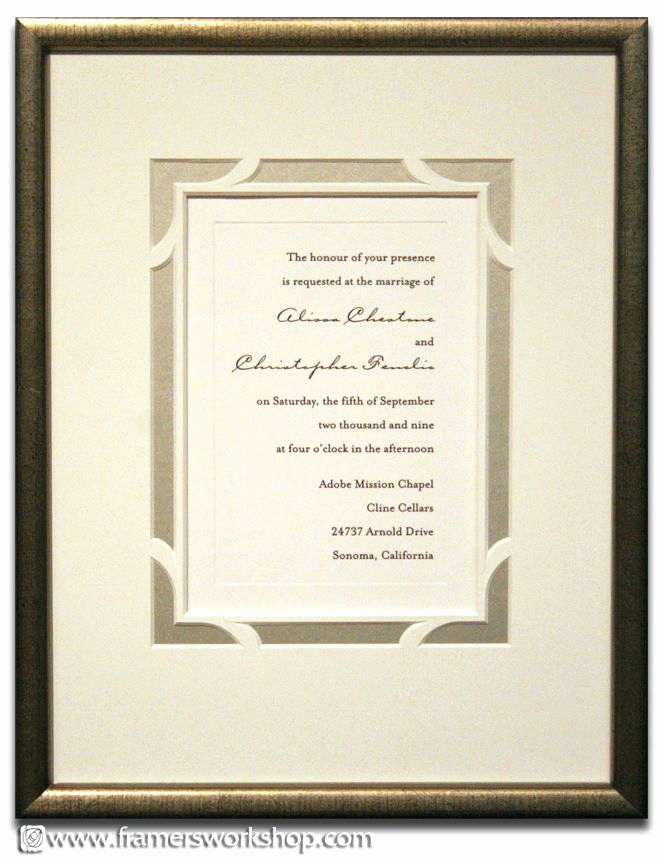 Wedding Invitation Framing Ideas Awesome Framed Wedding Invitation