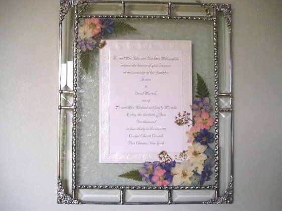Wedding Invitation Framing Ideas Beautiful Framed Wedding Invitation Beveled Glass Pressed