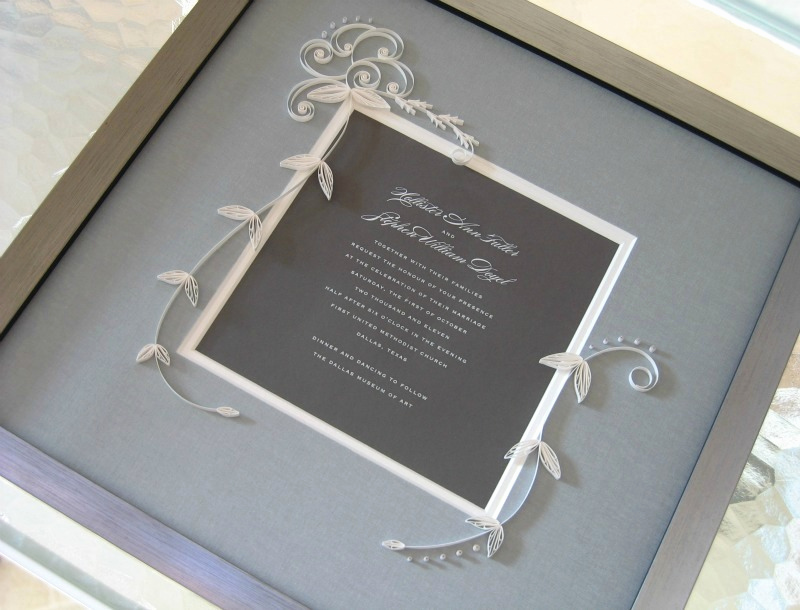 Wedding Invitation Framing Ideas Fresh Quilled and Framed Wedding Invitation by Ann Martin