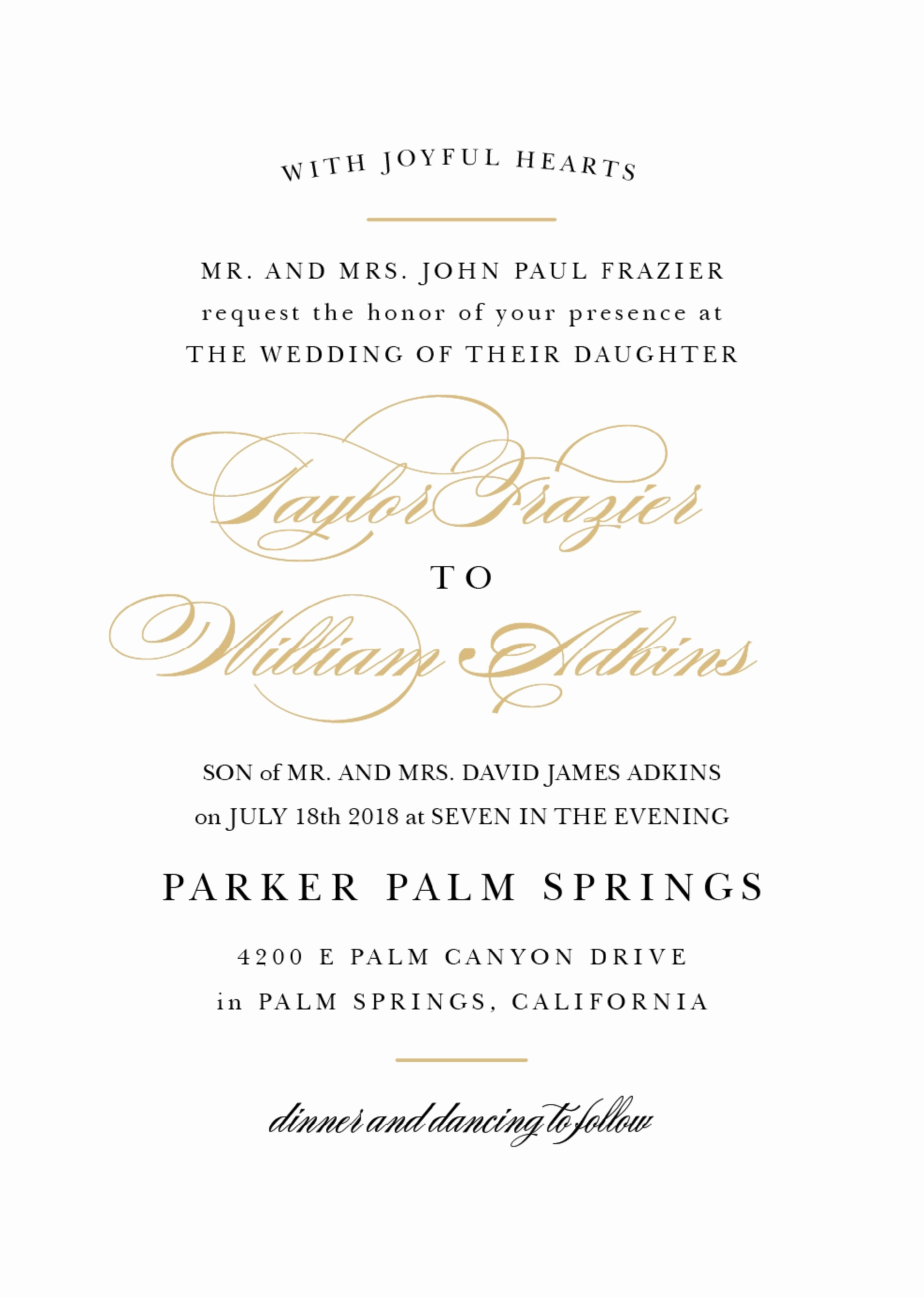 Wedding Invitation From Child Wording Beautiful Wedding Invitation Wording Samples