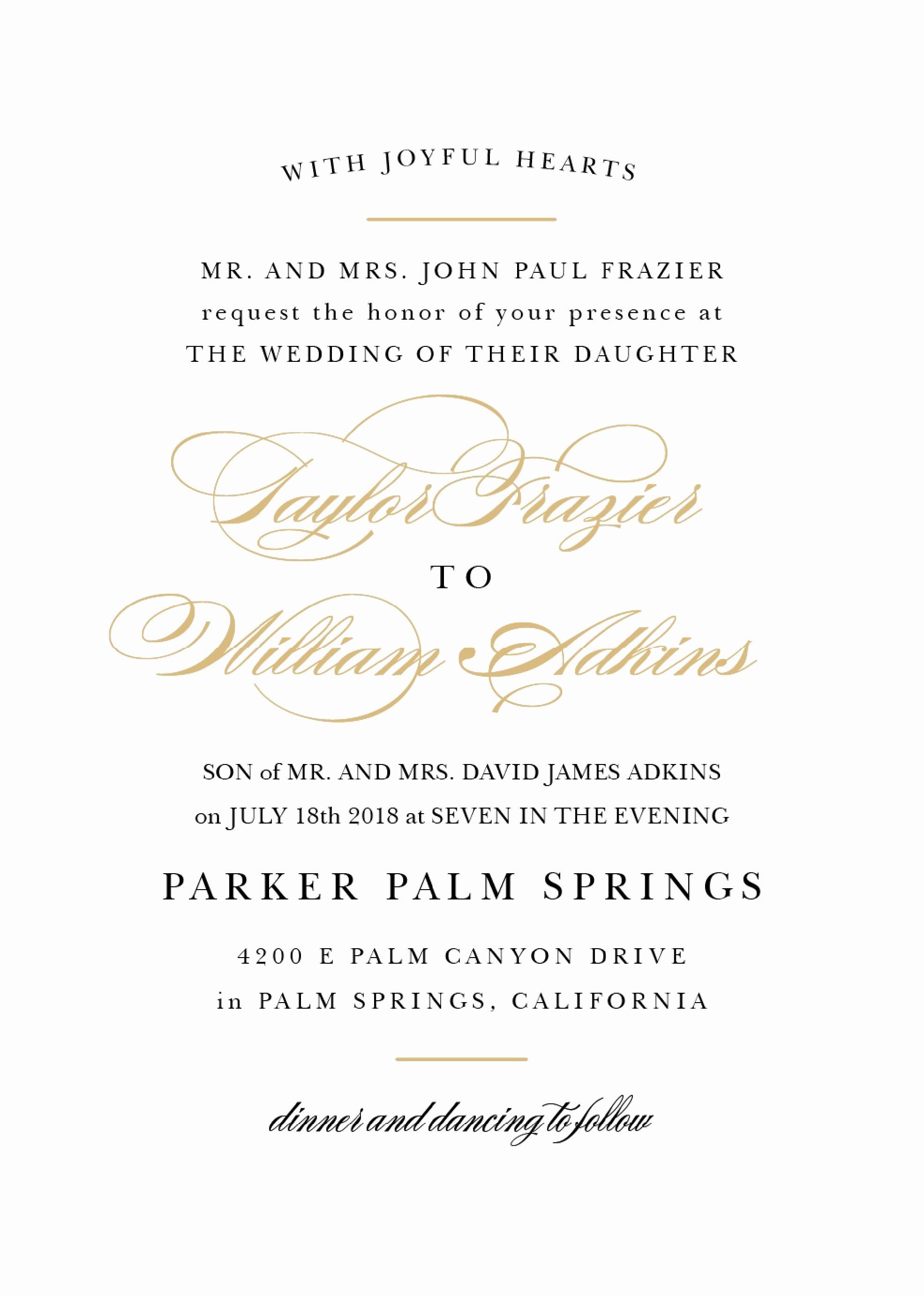 Wedding Invitation From Child Wording Beautiful Wedding Invitation Wording Samples