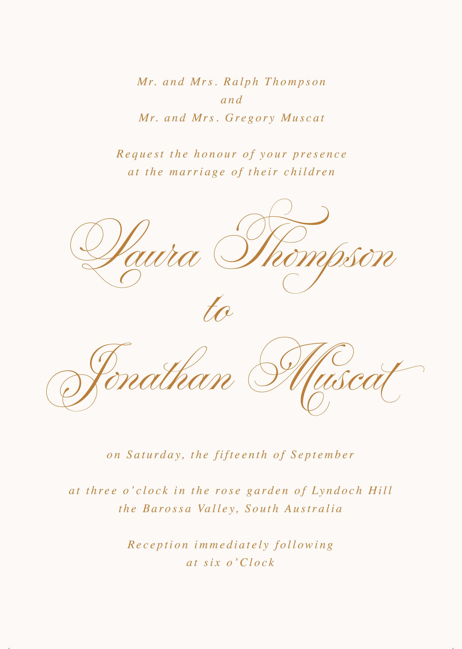 Wedding Invitation From Child Wording Elegant formal Wording for Wedding Invitations Traditional