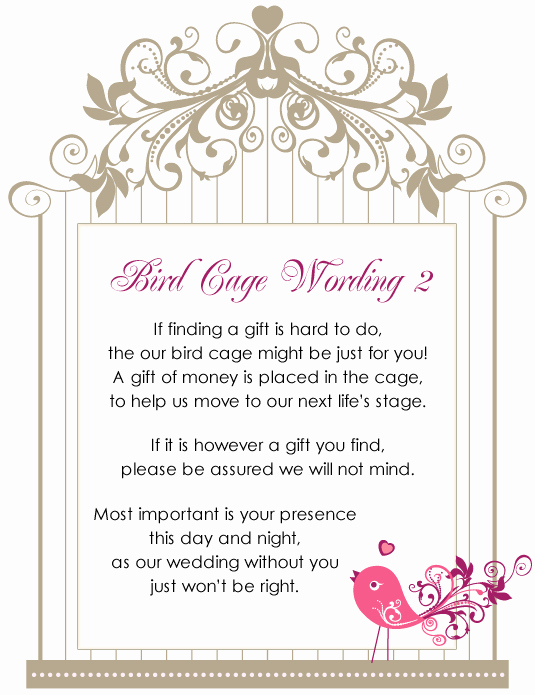 Wedding Invitation Gift Wording Beautiful Birdcage Wishing Well Wordings