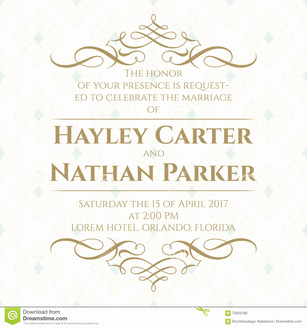 Wedding Invitation Graphic Design Beautiful Calligraphic Border and Seamless Classic Background