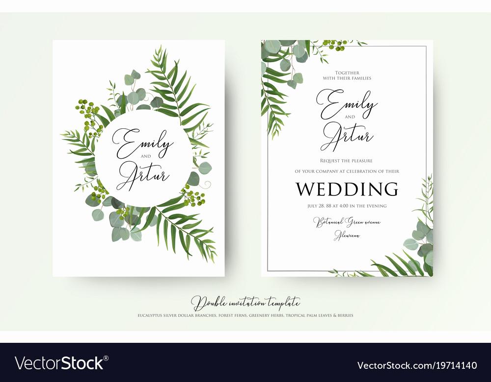 Wedding Invitation Graphic Design Beautiful Greenery Floral Wedding Invitation Card Design Vector Image
