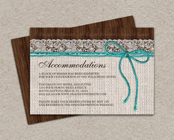 Wedding Invitation Information Card Awesome Items Similar to Rustic Turquoise Wedding Ac Modation
