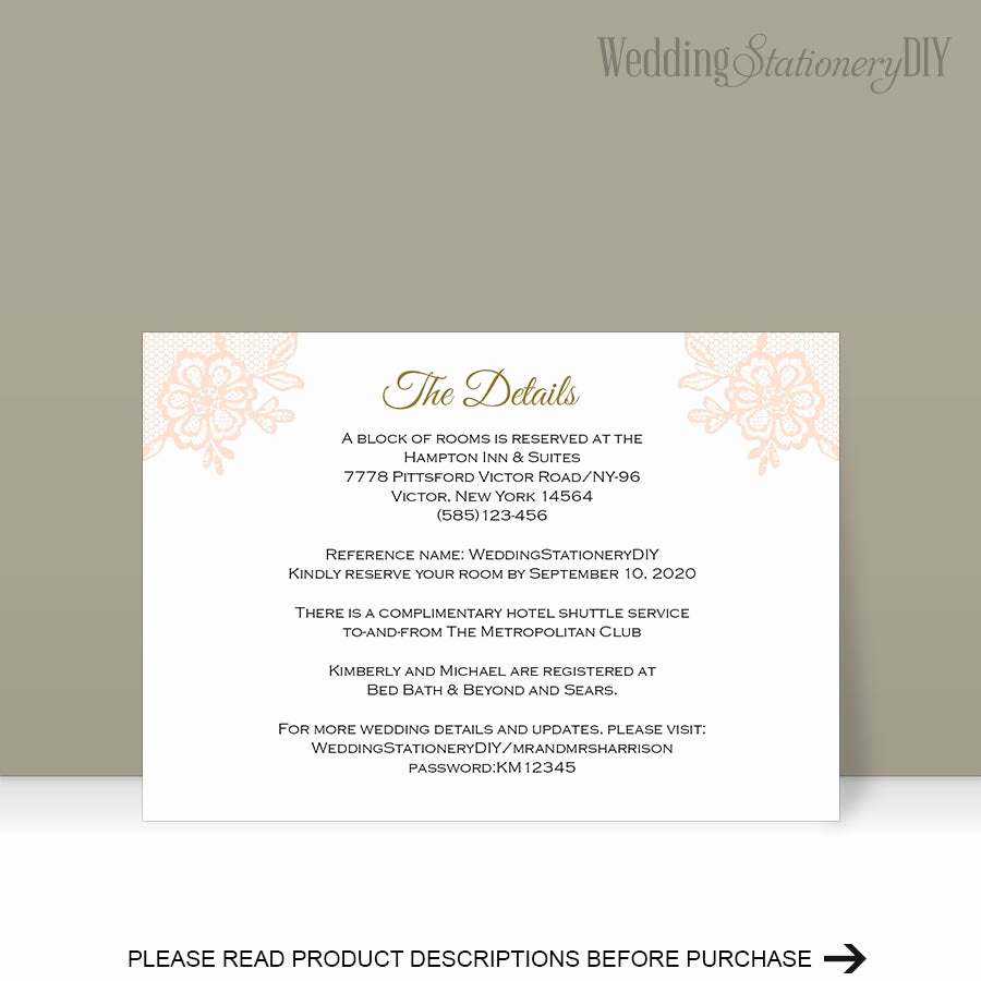 Wedding Invitation Information Card Awesome Printable Insert Cards Wedding Information Card Reception