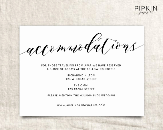 Wedding Invitation Information Card Awesome Wedding Ac Modations Template Printable Ac Modations