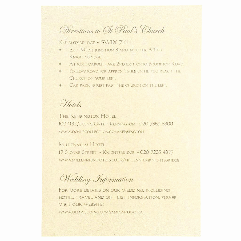 Wedding Invitation Information Card Beautiful Chantilly Information Card