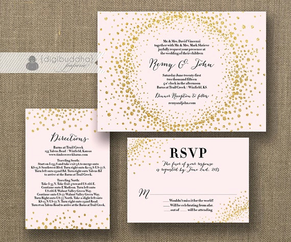 Wedding Invitation Information Card Best Of Blush Pink & Gold Glitter Wedding Invitation Rsvp Info Card 3