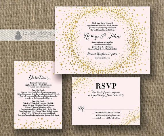 Wedding Invitation Information Card Best Of Blush Pink & Gold Glitter Wedding Invitation Rsvp Info Card 3