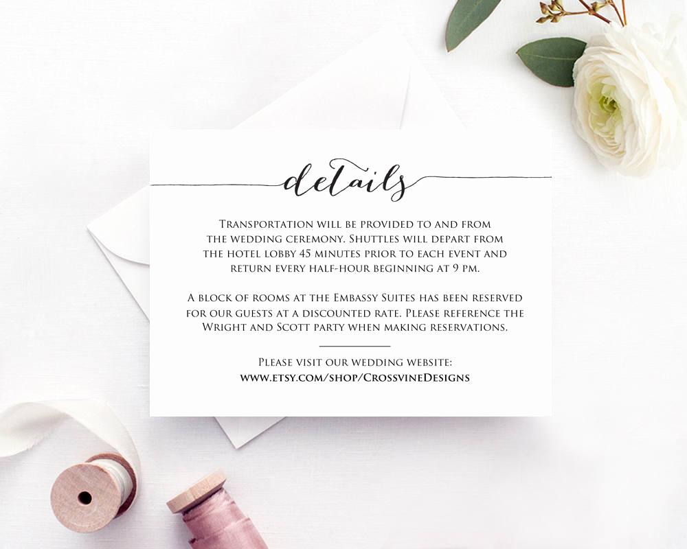 Wedding Invitation Information Card Elegant Details Card Insert Wedding Information Card Template Diy