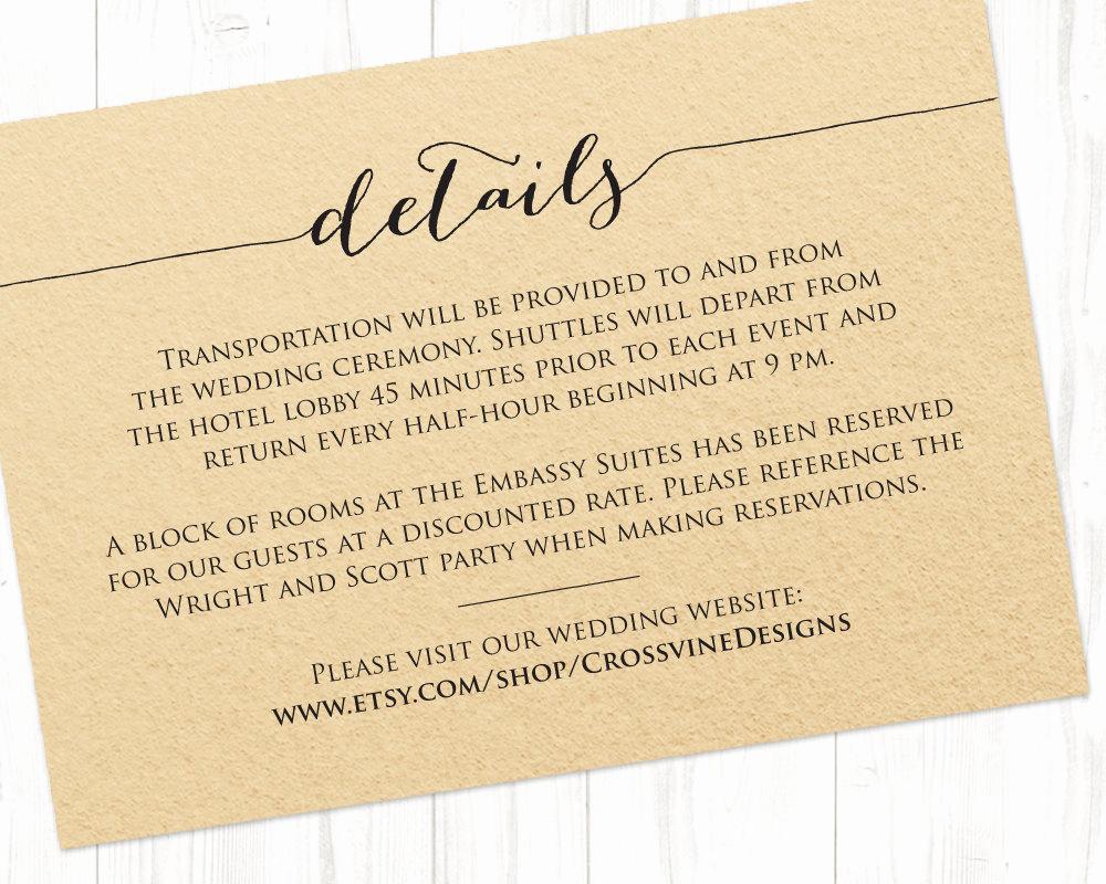 Wedding Invitation Information Card Elegant Details Card Template · Wedding Templates and Printables