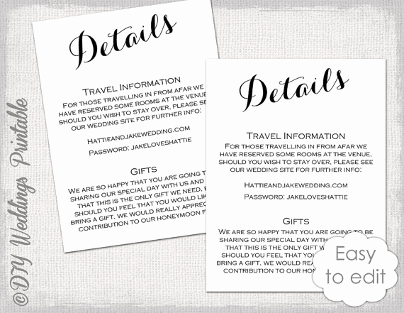 Wedding Invitation Information Card Elegant Wedding Details Enclosure Template Diy Calligraphy