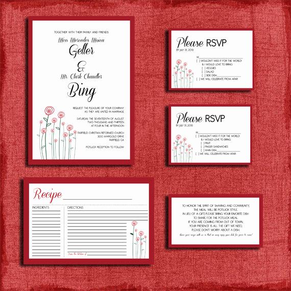 Wedding Invitation Information Card Inspirational Printable Modern Rose Potluck Style Wedding Invitation Set