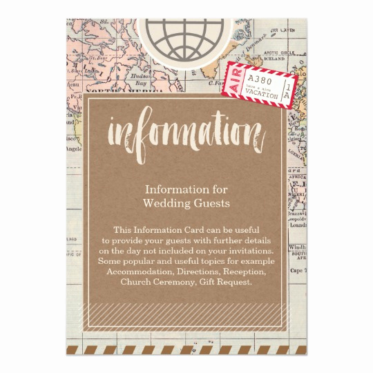 Wedding Invitation Information Card Inspirational Rustic Vintage Travel Wedding Information Card