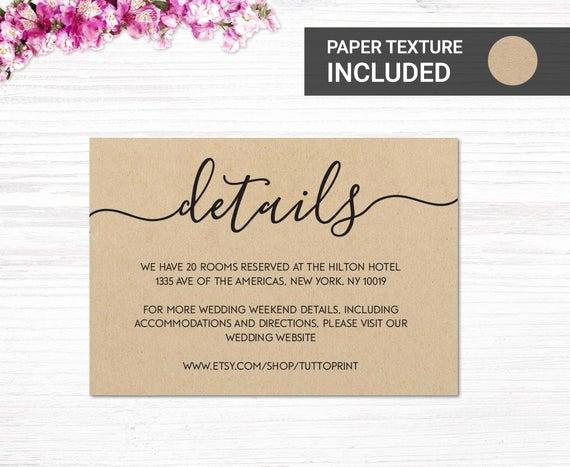 Wedding Invitation Information Card Lovely Wedding Details Printable Card On Kraft Paper Background