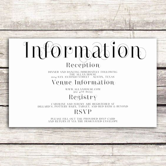 Wedding Invitation Information Card New Frame Collection Wedding Information Card