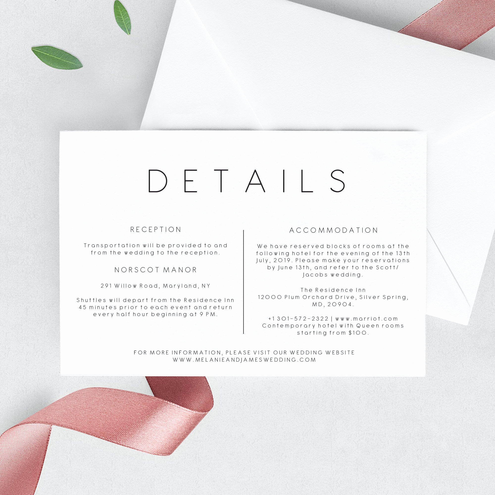 Wedding Invitation Information Card New Wedding Details Invitation Template