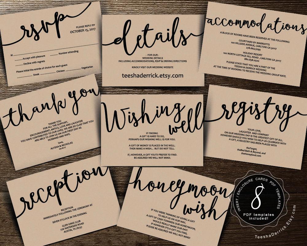 Wedding Invitation Insert Templates Awesome Wedding Insert Cards Pdf Template Instant