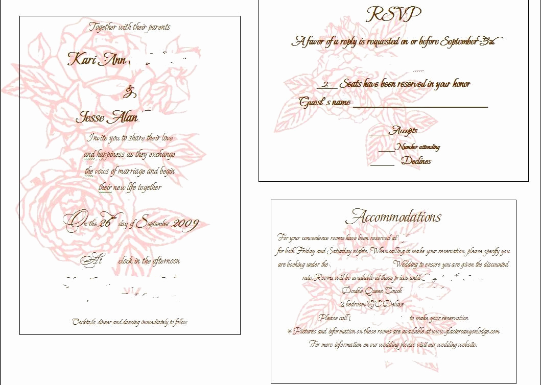 Wedding Invitation Insert Templates Beautiful Invitation Insert Templates