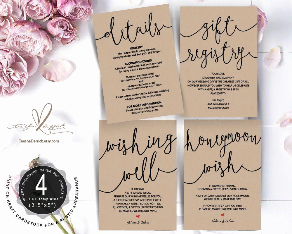 Wedding Invitation Insert Templates Beautiful Wedding Insert Cards Pdf Template Instant T