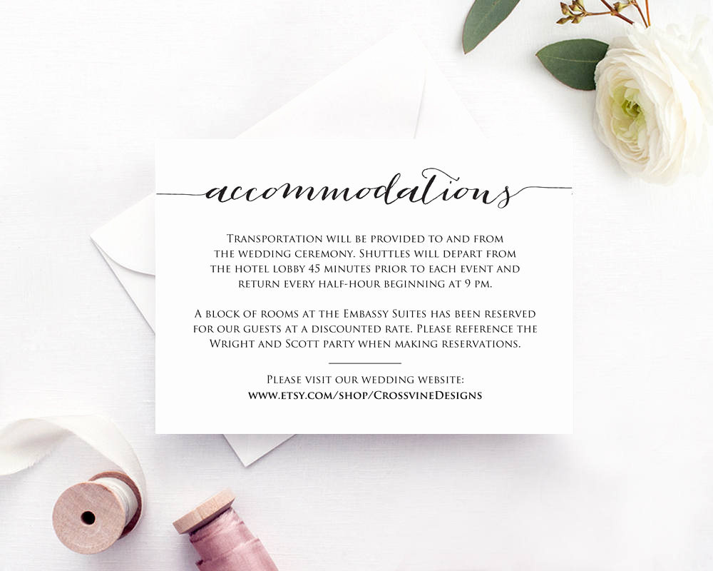 Wedding Invitation Insert Templates Best Of Ac Modations Card · Wedding Templates and Printables