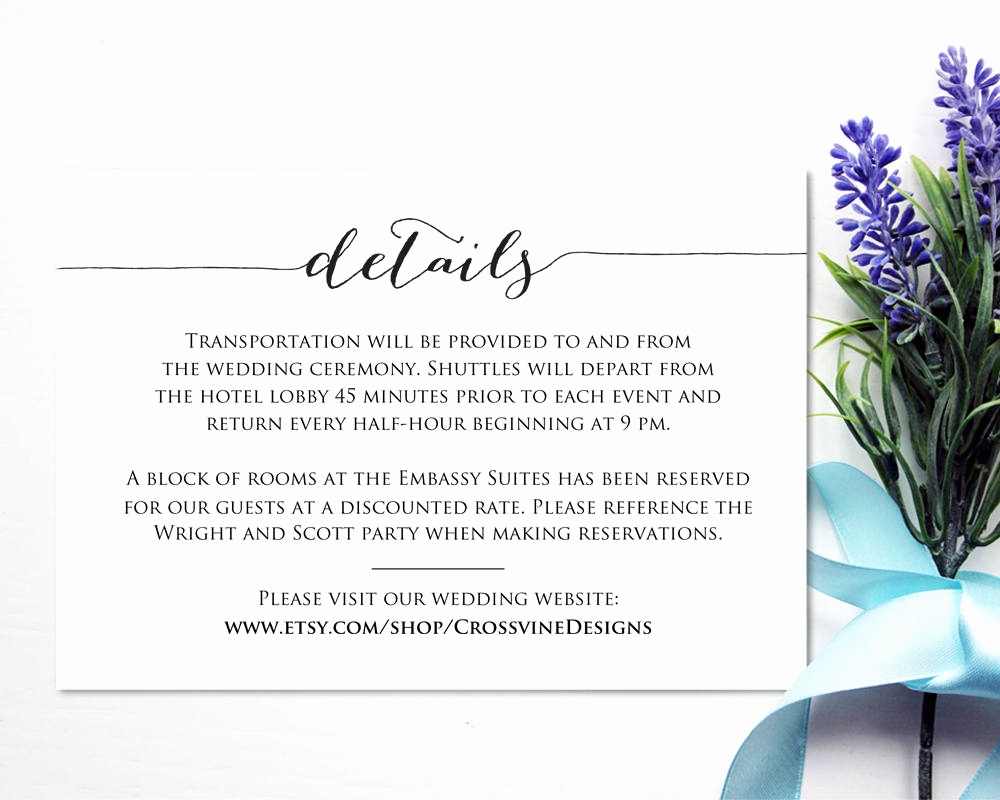 Wedding Invitation Insert Templates Best Of Details Card Template · Wedding Templates and Printables
