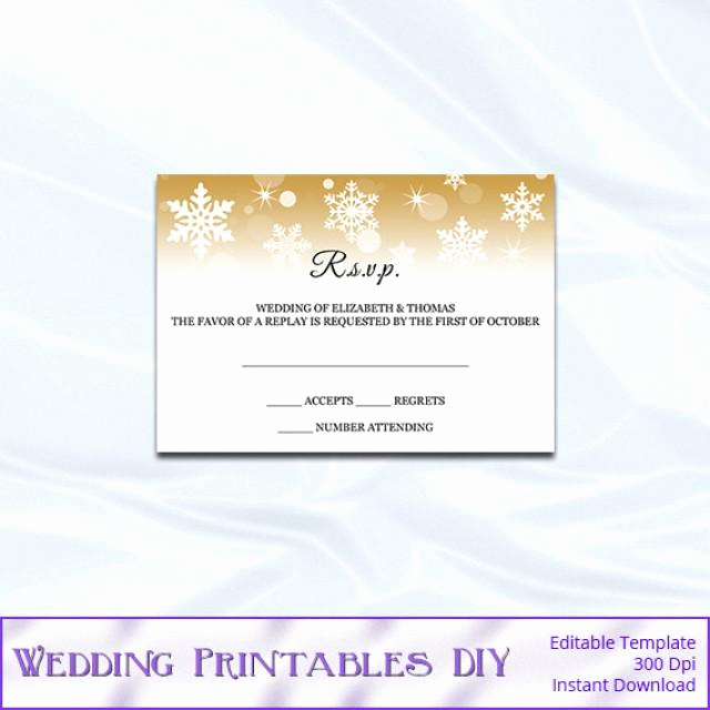 Wedding Invitation Insert Templates Best Of Rsvp Template Diy Gold Snowflake Wedding Enclosure Card