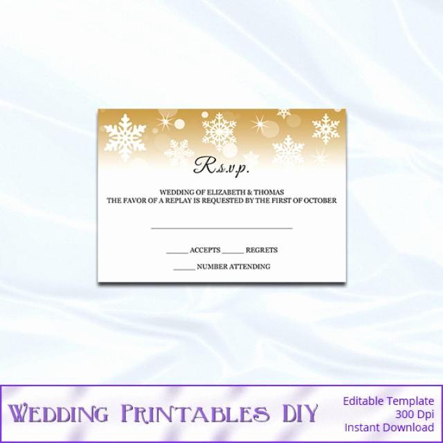 Wedding Invitation Insert Templates Best Of Rsvp Template Diy Gold Snowflake Wedding Enclosure Card