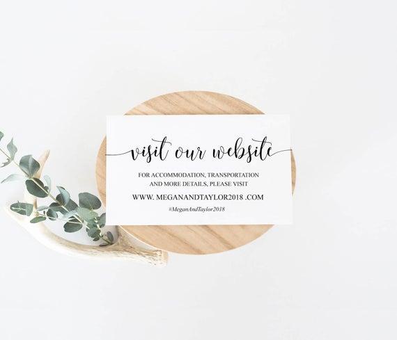 Wedding Invitation Insert Templates Elegant Wedding Website Insert Cards Editable Template Website