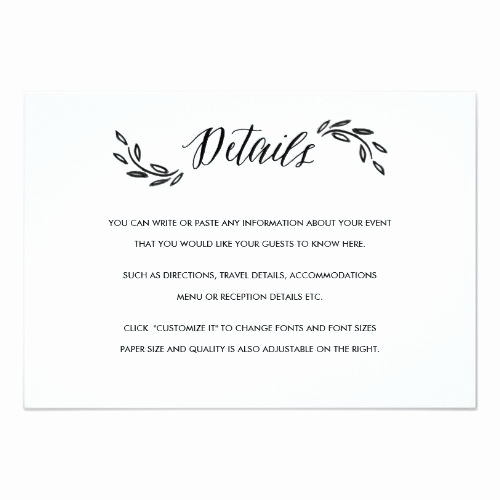 Wedding Invitation Insert Templates Inspirational Watercolor Woodland Wedding Insert Details Card
