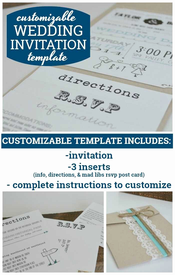 Wedding Invitation Insert Templates New Customizable Wedding Invitation Template with Inserts