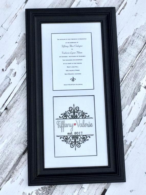 Wedding Invitation Keepsake Frame Fresh Custom Monogrammed Framed Wedding Invitation Keepsake