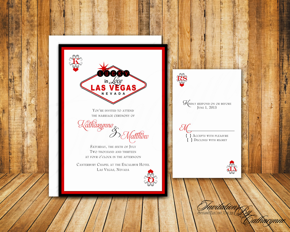 Wedding Invitation Las Vegas Beautiful Custom Listing Las Vegas Wedding Invitations In Red and