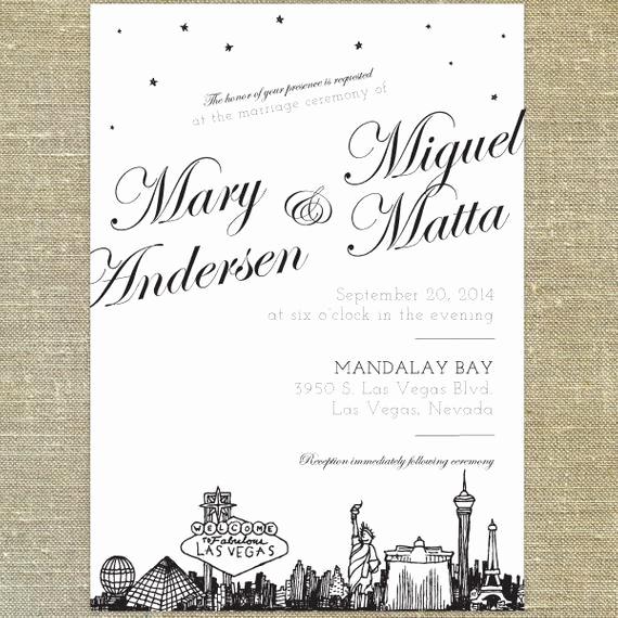 Wedding Invitation Las Vegas Beautiful Las Vegas Skyline Wedding Invitation Sample Only