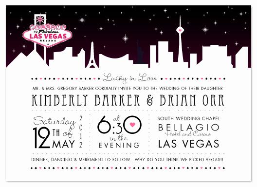 Wedding Invitation Las Vegas Beautiful Wedding Invitations Vegas Skyline at Minted